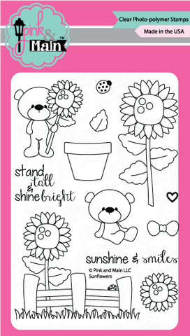 Pink & Main - SUNFLOWERS - Clear Stamps - Hallmark Scrapbook