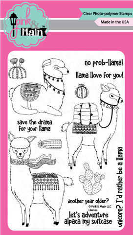 Pink & Main - LLAMAS - Clear Stamps - 25% OFF!