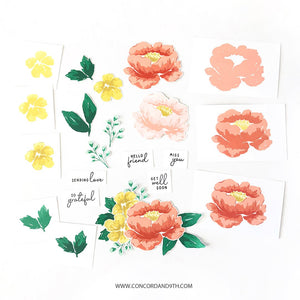 Concord & 9th - PAINTED PEONY - Stamps Set