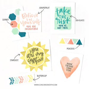 Concord & 9th - PAINTED SHAPES and PAINTED SAYINGS  - Stamps BUNDLE Set