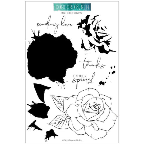 Concord & 9th - PAINTED ROSE Clear Stamps set