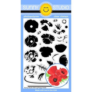 Sunny Studio - POPPY FIELDS - Stamps set