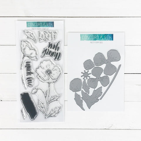 Concord & 9th - PRETTY POPPY Stamps  and Dies BUNDLE set