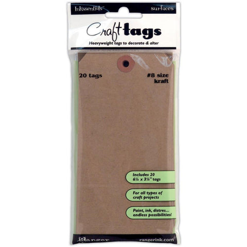 Inkssentials Surfaces -  Craft TAG - BROWN KRAFT #8 20 pk - Hallmark Scrapbook