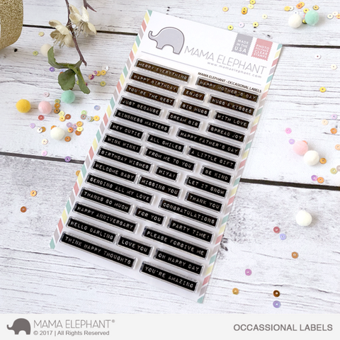 Mama Elephant - OCCASIONAL LABELS - Clear Stamps Set