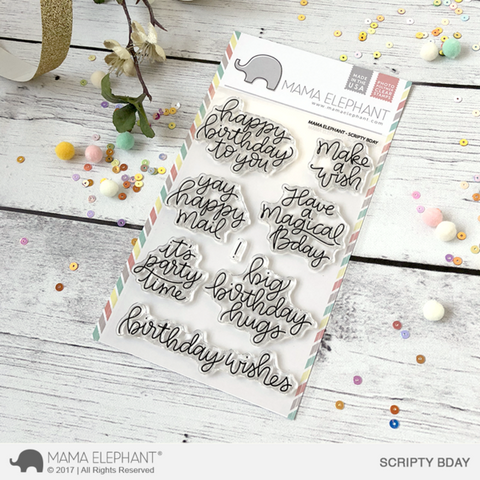 Mama Elephant - SCRIPTY BDAY - Clear Stamps Set - Scripty Birthday