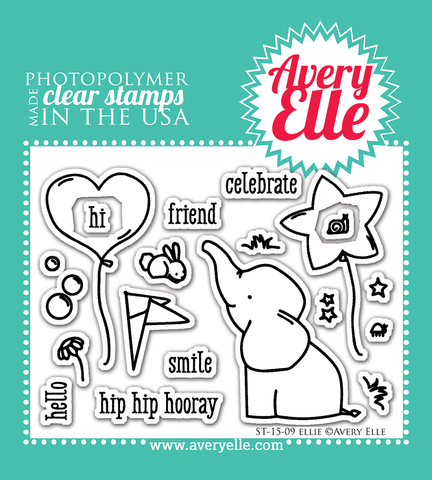 Avery Elle - ELLIE Elephant Clear Stamp Set  - - Hallmark Scrapbook - 1
