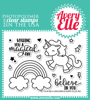 Avery Elle - BE A UNICORN Clear Stamp Set  - 14 pc - Hallmark Scrapbook - 1