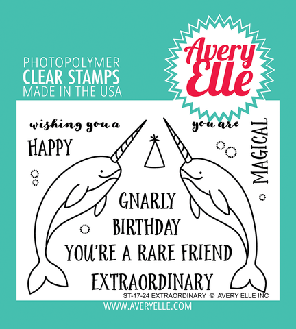 Avery Elle - EXTRAORDINARY - Clear Stamp Set - Narwhals - 30% OFF!