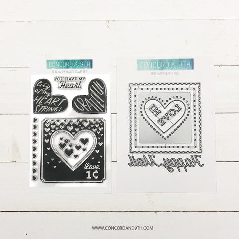 Concord & 9th - SEW HAPPY HEARTS Stamps and Dies BUNDLE set
