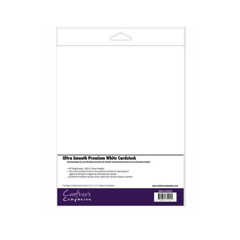 Crafters Companion - ULTRA SMOOTH PREMIUM WHITE CARDSTOCK 20 pk - Hallmark Scrapbook