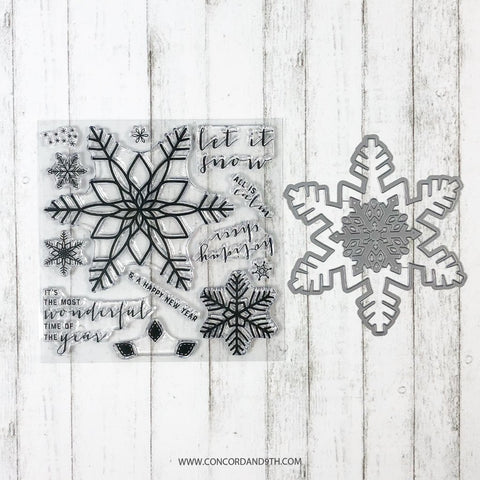 Concord & 9th - SNOW FLURRY Stamps and Dies BUNDLE