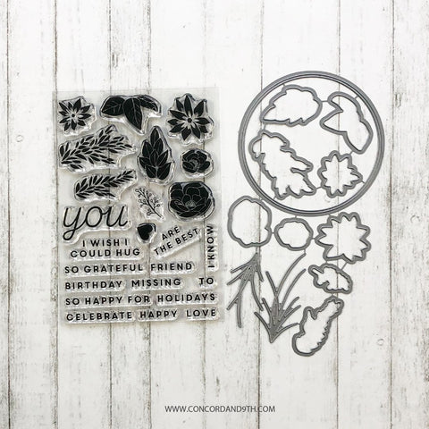 Concord & 9th - SO HAPPY FOR YOU Clear Stamps and FLORAL HOOP Dies set Bundle - 60% OFF!