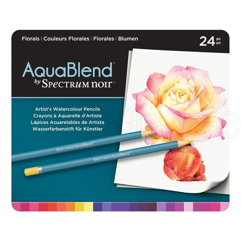 Spectrum - AquaBlend FLORALS set - Aqua Blend Watercolor Pencils - 24 pc - Hallmark Scrapbook