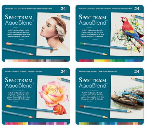 Spectrum - AquaBlend FULL SET 4 TINS - Aqua Blend Watercolor Pencils - 96 pc - Hallmark Scrapbook