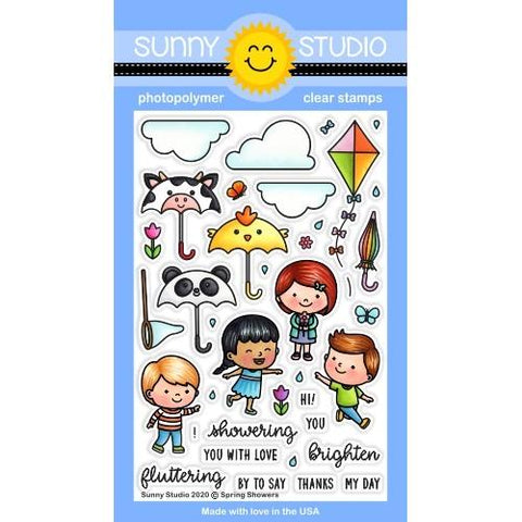 Sunny Studio - SPRING SHOWERS - Stamp Set - 20% OFF!