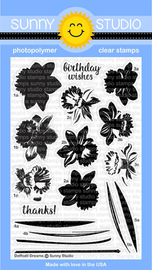 Sunny Studio - DAFFODIL DREAMS - Clear Stamp Set