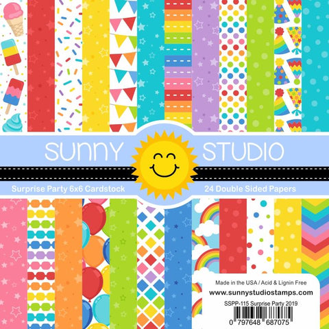 Sunny Studio - SURPRISE PARTY PAPER - 24 Double Sided Sheets 6x6