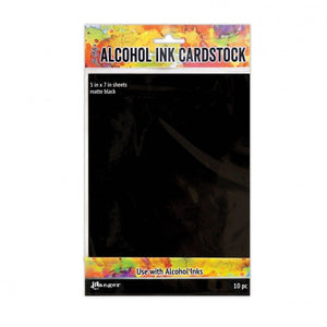 Tim Holtz - Black Matte Alcohol Ink Cardstock  - 5x7 10PK
