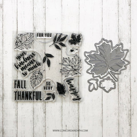 Concord & 9th - THANKFUL LEAVES Turnabout Stamps and Die set Bundle