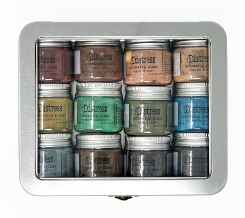 Tim Holtz - Distress Embossing Glaze - 12 pc SET w/Storage Tin