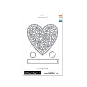 Concord & 9th - TRIPLE-STEP BLOOMING HEART - Dies Set