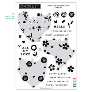 Concord & 9th - TRIPLE-STEP BLOOMING HEART - Stamps Set