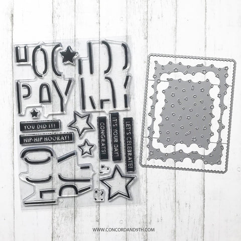 Concord & 9th - TRIPLE STEP HOORAY Stamps and CONFETTI CARD Dies BUNDLE set