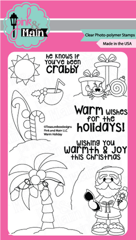 Pink & Main - WARM HOLIDAY - Clear Stamps - Hallmark Scrapbook - 1