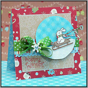 Lawn Fawn - WINTER BUNNY - Clear STAMPS - Hallmark Scrapbook - 6