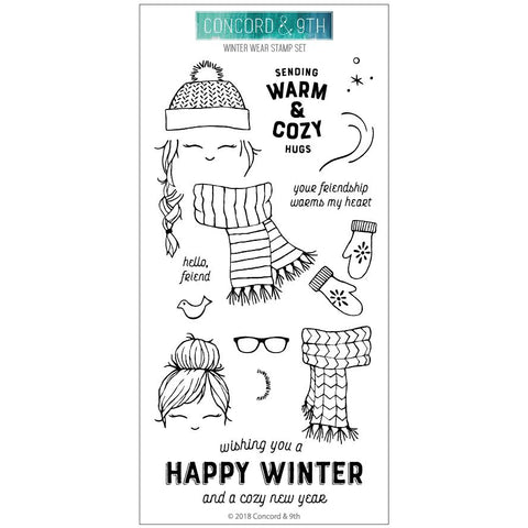 Concord & 9th - WINTER WEAR Clear Stamps set