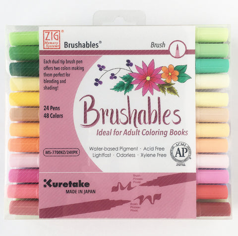 Kuretake/ZIG - BRUSHABLES Dual Tip Markers/Pens - 24 pc Set (48 Colors) - Hallmark Scrapbook - 1