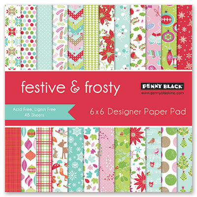 Penny Black - FESTIVE and FROSTY - 48 Single Sided Sheets 6x6