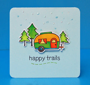Lawn Fawn - Happy Trails - CLEAR STAMPS 12 pc - Hallmark Scrapbook - 7