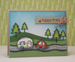Lawn Fawn - Happy Trails - CLEAR STAMPS 12 pc - Hallmark Scrapbook - 4