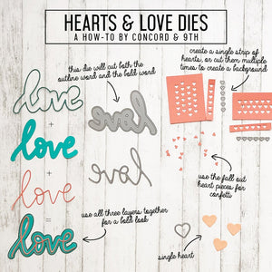 Concord & 9th - HEARTS & LOVE Dies set - 25% OFF!