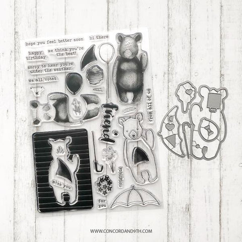 Concord & 9th - HI THERE BEAR Clear Stamps and Dies Set Bundle