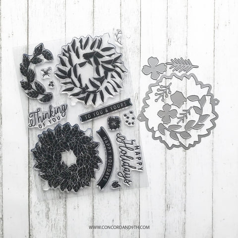 Concord & 9th - MAGNOLIA WREATH Bundle - Stamps and Dies set
