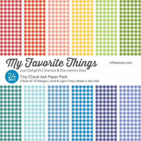 My Favorite Things - TINY CHECK Paper Pack 6x6 - 24 sheets - Hallmark Scrapbook
