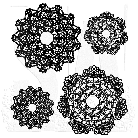 Tim Holtz Stampers Anonymous - DOILY - Cling Mount Rubber Stamp set - 4 PC - Hallmark Scrapbook - 1