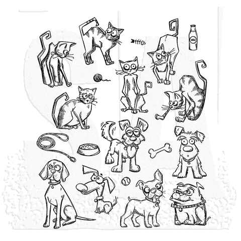 Tim Holtz Stampers Anonymous - Mini CATS AND DOGS - Cling Mount Rubber Stamp Set - 39 pc - Hallmark Scrapbook - 1