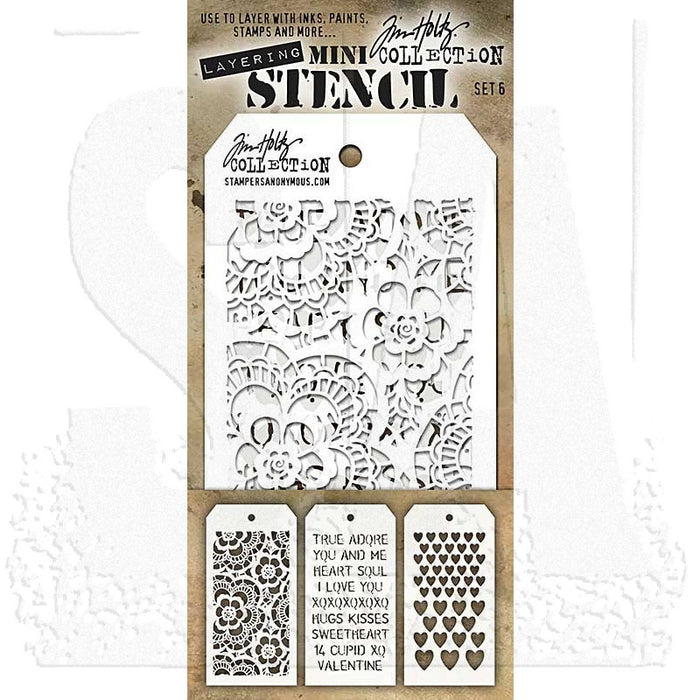 Tim Holtz - Mini Layering Stencils - SET #6 - Lace, Valentine and Hearts,