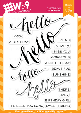 WPlus9 Design Studio - HAND LETTERED HELLO Stamps - Hallmark Scrapbook - 1