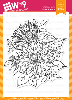 WPlus9 Design Studio - BEAUTIFUL BOUQUET: MUMS Stamps - Hallmark Scrapbook