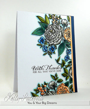 WPlus9 Design Studio - BEAUTIFUL BOUQUETS RANUNCULUS Stamps - Hallmark Scrapbook - 2