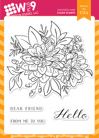 WPlus9 Design Studio - BEAUTIFUL BOUQUET: DAHLIA Stamps - Hallmark Scrapbook - 1