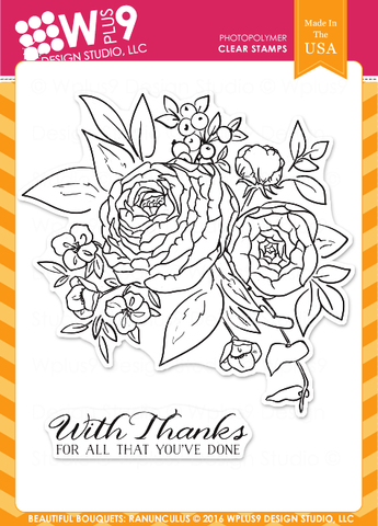 WPlus9 Design Studio - BEAUTIFUL BOUQUETS RANUNCULUS Stamps - Hallmark Scrapbook - 1