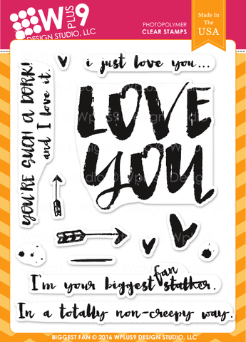 WPlus9 Design Studio - BIGGEST FAN Stamp set - Hallmark Scrapbook - 1
