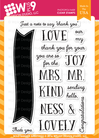 WPlus9 Design Studio - BOLD BANNER GREETINGS Stamp Set - Hallmark Scrapbook - 1