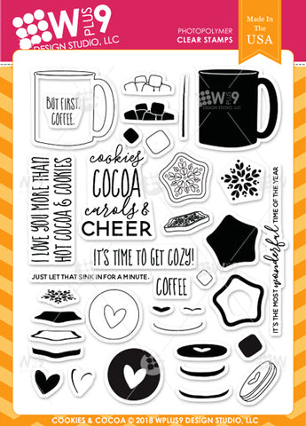 WPlus9 Design Studio - COOKIES AND COCOA Stamps
